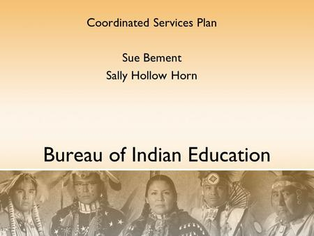 Bureau of Indian Education Coordinated Services Plan Sue Bement Sally Hollow Horn.