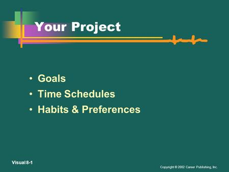 Copyright © 2002 Career Publishing, Inc. Visual 8-1 Your Project Goals Time Schedules Habits & Preferences.