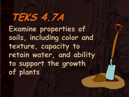 TEKS 4.7A Examine properties of soils, including color and texture, capacity to retain water, and ability to support the growth of plants.