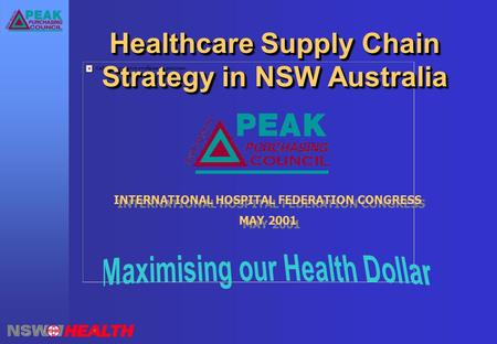 Healthcare Supply Chain Strategy in NSW Australia INTERNATIONAL HOSPITAL FEDERATION CONGRESS MAY 2001 INTERNATIONAL HOSPITAL FEDERATION CONGRESS MAY 2001.