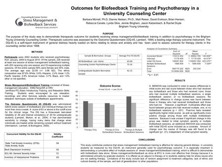Outcomes for Biofeedback Training and Psychotherapy in a University Counseling Center Barbara Morrell, Ph.D, Dianne Nielsen, Ph.D., Matt Reiser, David.