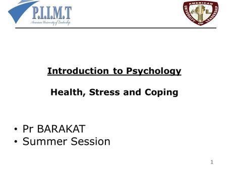 Introduction to Psychology Health, Stress and Coping