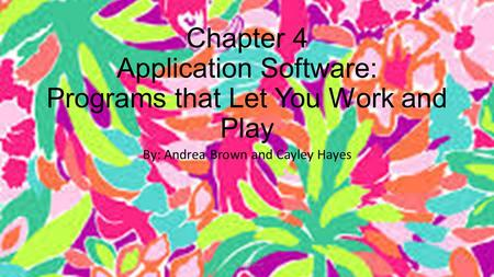 Chapter 4 Application Software: Programs that Let You Work and Play By: Andrea Brown and Cayley Hayes HayesBrown.
