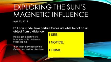 EXPLORING THE SUN'S MAGNETIC INFLUENCE April 23, 2015 LT: I can model how certain forces are able to act on an object from a distance Please get a post.