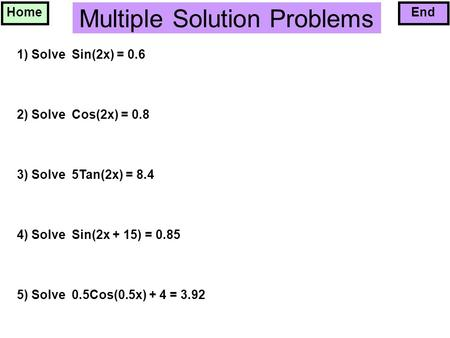 Multiple Solution Problems