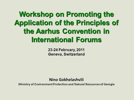23-24 February, 2011 Geneva, Switzerland Nino Gokhelashvili Ministry of Environment Protection and Natural Resources of Georgia Workshop on Promoting the.