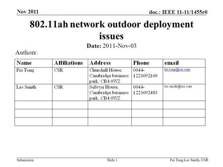 Submission doc.: IEEE 11-11/1455r0 Nov 2011 Fei Tong,Les Smith, CSRSlide 1 802.11ah network outdoor deployment issues Date: 2011-Nov-03 Authors: