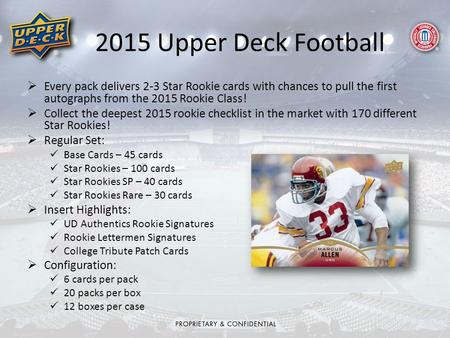  Every pack delivers 2-3 Star Rookie cards with chances to pull the first autographs from the 2015 Rookie Class!  Collect the deepest 2015 rookie checklist.