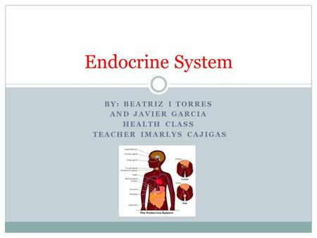 BY: BEATRIZ I TORRES AND JAVIER GARCIA HEALTH CLASS TEACHER IMARLYS CAJIGAS Endocrine System.