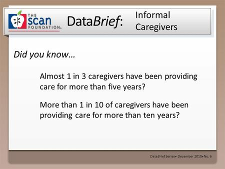DataBrief: Did you know… DataBrief Series ● December 2010 ● No. 6 Informal Caregivers Almost 1 in 3 caregivers have been providing care for more than five.