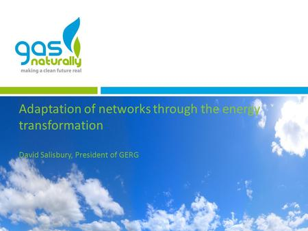 Adaptation of networks through the energy transformation David Salisbury, President of GERG.