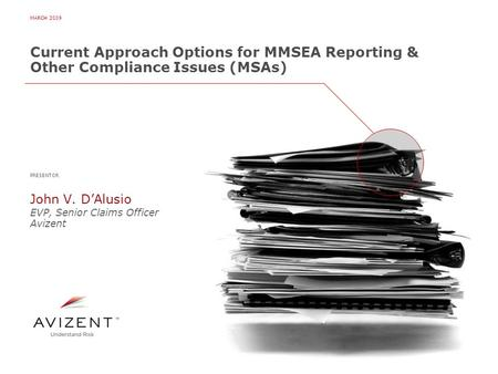 MARCH 2009 Current Approach Options for MMSEA Reporting & Other Compliance Issues (MSAs) PRESENTOR John V. D'Alusio EVP, Senior Claims Officer Avizent.