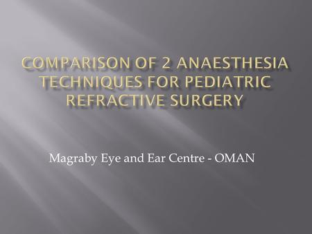 Magraby Eye and Ear Centre - OMAN.  Difficulties with children and LA  Reports of NO2 interference with Laser function  Aim – compare propfol/fentanyl.