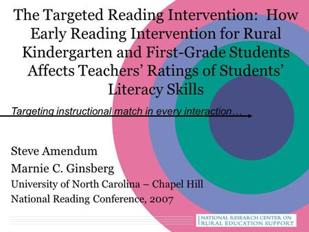 The Targeted Reading Intervention: How Early Reading Intervention for Rural Kindergarten and First-Grade Students Affects Teachers' Ratings of Students'
