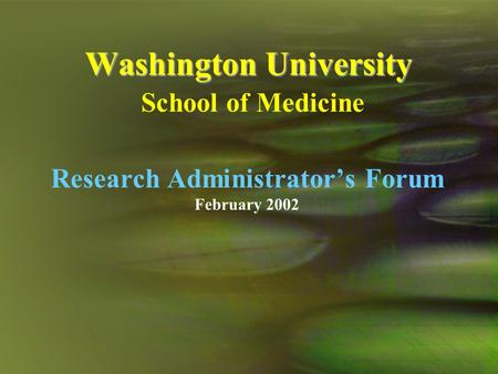 Washington University Washington University School of Medicine Research Administrator's Forum February 2002.