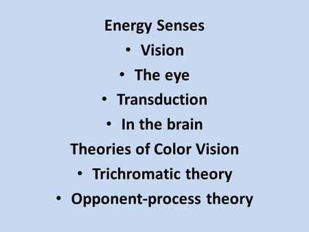 Energy Senses Vision The eye Transduction In the brain Theories of Color Vision Trichromatic theory Opponent-process theory.