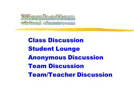 Class Discussion Student Lounge Anonymous Discussion Team Discussion Team/Teacher Discussion.
