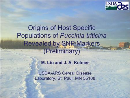 Origins of Host Specific Populations of Puccinia triticina Revealed by SNP Markers (Preliminary) M. Liu and J. A. Kolmer USDA-ARS Cereal Disease Laboratory,