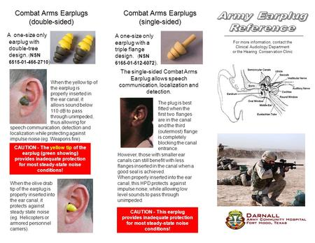For more information, contact the Clinical Audiology Department or the Hearing Conservation Clinic Combat Arms Earplugs (double-sided) A one-size only.