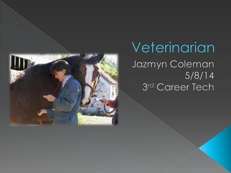  The career I want to go with when I get older is a Veterinarian  More than 59,700 people worked as veterinarians in 2008  I got interested in because.