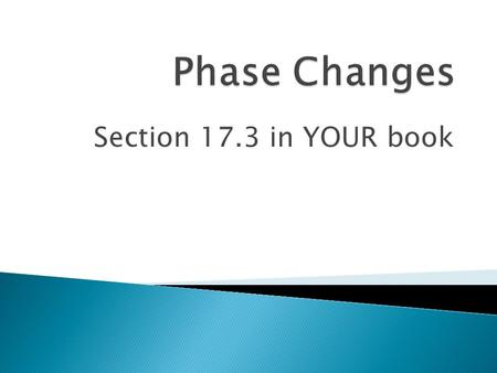 Phase Changes Section 17.3 in YOUR book.