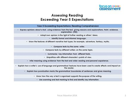Assessing Reading Exceeding Year 5 Expectations Focus Education 20141 Year 5 Exceeding Expectations: Reading Comprehension Express opinions about a text,