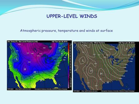 UPPER-LEVEL WINDS Atmospheric pressure, temperature and winds at surface.
