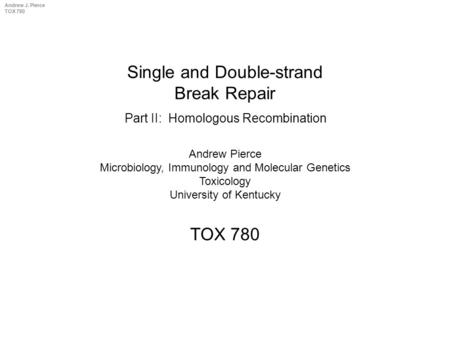 Andrew J. Pierce TOX 780 Single and Double-strand Break Repair TOX 780 Andrew Pierce Microbiology, Immunology and Molecular Genetics Toxicology University.