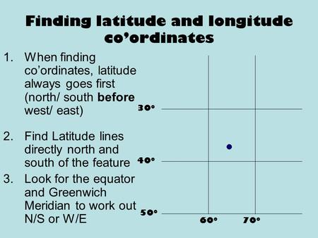 Finding latitude and longitude co'ordinates