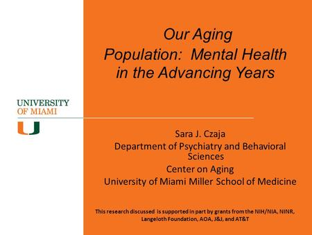 Our Aging Population: Mental Health in the Advancing Years