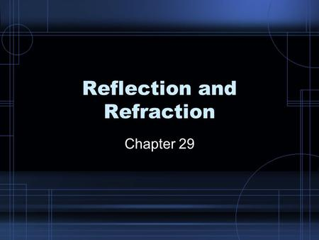 Reflection and Refraction Chapter 29. Reflection Reflection – some or all of a wave bounces back into the first medium when hitting a boundary of a second.