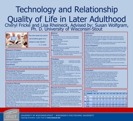 Technology and Relationship Quality of Life in Later Adulthood Cheryl Fricke and Lisa Rheineck, Advised by: Susan Wolfgram, Ph. D. University of Wisconsin-Stout.