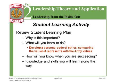 Slide 1 of 15Chapter 1: Foundations of Army JROTC and Getting Involved Lesson 3: Leadership from the Inside Out 2 Unit Leadership from the Inside Out Leadership.