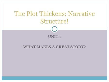UNIT 1 WHAT MAKES A GREAT STORY? The Plot Thickens: Narrative Structure!