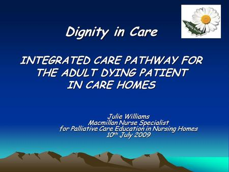 Dignity in Care INTEGRATED CARE PATHWAY FOR THE ADULT DYING PATIENT IN CARE HOMES Julie Williams Macmillan Nurse Specialist for Palliative Care Education.