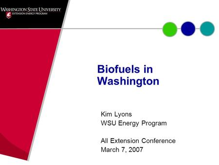 Kim Lyons WSU Energy Program All Extension Conference March 7, 2007 Biofuels in Washington.