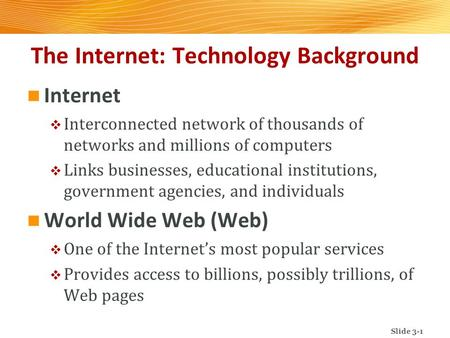The Internet: Technology Background Internet  Interconnected network of thousands of networks and millions of computers  Links businesses, educational.