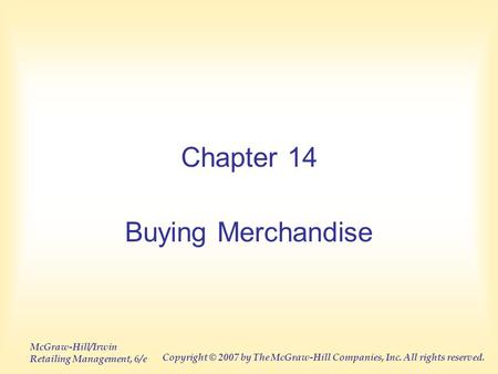 Chapter 14 Buying Merchandise.