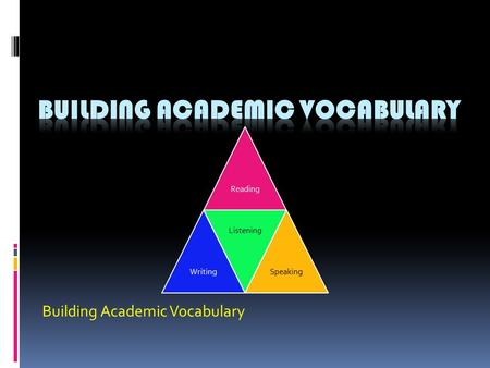 Building Academic Vocabulary ReadingWriting Listening Speaking.