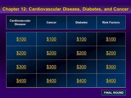 Chapter 12: Cardiovascular Disease, Diabetes, and Cancer $100 $200 $300 $400 $100$100$100 $200 $300 $400 Cardiovascular Disease CancerDiabetesRisk Factors.