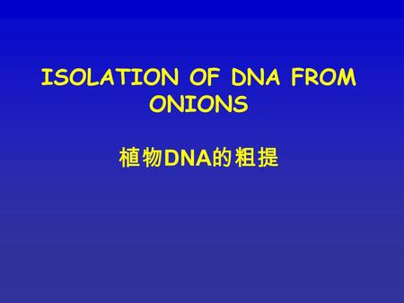 ISOLATION OF DNA FROM ONIONS 植物 DNA 的粗提. Aim To isolate nucleic acids from onion tissue. Note: nucleic acids prepared in this way will not be very pure.