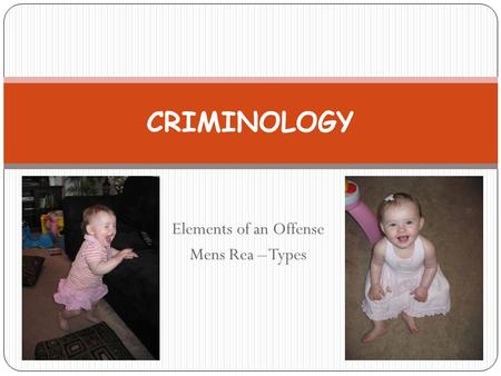 Elements of an Offense Mens Rea – Types CRIMINOLOGY.