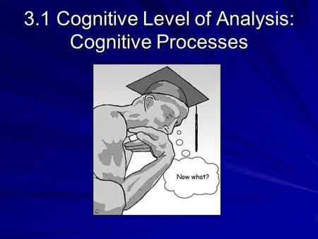 3.1 Cognitive Level of Analysis: Cognitive Processes.