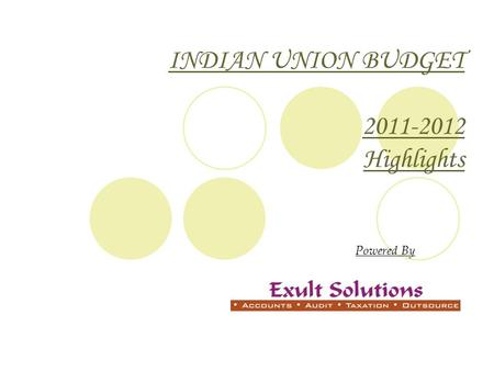 INDIAN UNION BUDGET 2011-2012 Highlights Powered By.