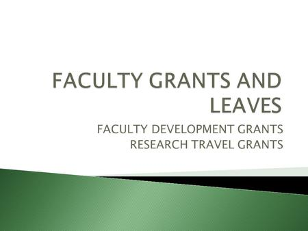 FACULTY DEVELOPMENT GRANTS RESEARCH TRAVEL GRANTS.