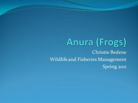 Christie Bedene Wildlife and Fisheries Management Spring 2011.