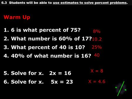6.3 Students will be able to use estimates to solve percent problems. Warm Up 1.6 is what percent of 75? 2.What number is 60% of 17? 3.What percent of.
