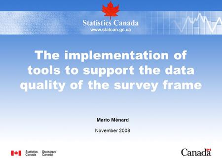 The implementation of tools to support the data quality of the survey frame Mario Ménard November 2008.