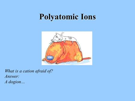 Polyatomic Ions What is a cation afraid of? Answer: A dogion…