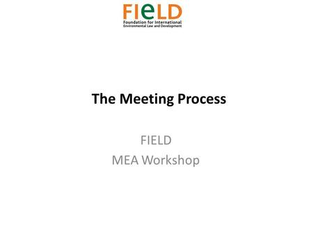 The Meeting Process FIELD MEA Workshop. The Meeting Process 1)The Meeting Process 2)Players 3)Rules of Procedure 4)Documentation.